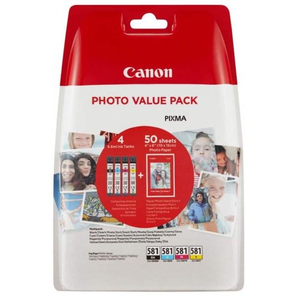 Set cartus hartie + cerneala Canon, CLI-581 C/M/Y/...
